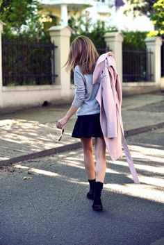 grey, black and soft pink