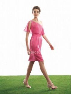 Sheath / Column One Shoulder Knee Length / Short Chiffon Bridesmaid Wedding Party Dresses