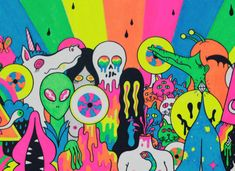With A Little Help from My Fwends Inside Sleeve / The Flaming Lips - Oliver Hibert - Debut Art Trippy Drawings, Psychedelic Drawings, Art Drawings, Psychedelic Pattern, Hippie Painting, Trippy Painting, Psychadelic Art, Trippy Wallpaper, Wallpaper Ideas