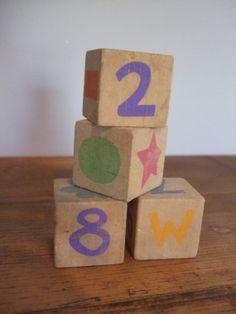 Vintage Colorful Wood Block Set of Four by jessamyjay on Etsy
