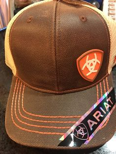 c2de66e9a880c Ariat Men s Mesh Shield Logo Cap Brown Oilskin OS 701340569164