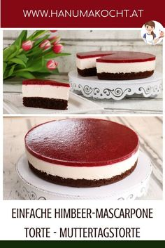 Einfache Himbeer-Mascarpone Torte - Muttertagstorte It's not difficult to surprise Mama - at least if you prepare this cake. Day cake mascarpone ca Beef Pies, Mince Pies, Torte Au Chocolat, Mascarpone Cake, Pan Sin Gluten, Mothers Day Cake, Flaky Pastry, Breakfast Buffet, Easy Cake Recipes