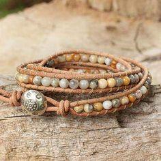 Jasper wrap bracelet, 'Inner Balance' - Jasper and Leather Wrap Bracelet Thai Artisan Jewelry Beaded Wrap Bracelets, Bohemian Bracelets, Hippie Jewelry, Beaded Jewelry, Jewelry Rings, Jewlery, Knitted Bracelet, Diy Jewellery, Skull Jewelry