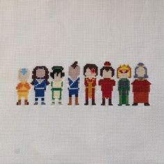 Avatar the Last Airbender Main Characters Cross Stitch Pattern Geek Cross Stitch, Cute Cross Stitch, Cross Stich Patterns Free, Cross Stitch Designs, Alpha Patterns, Baby Patterns, Cross Stitching, Cross Stitch Embroidery, Pearler Bead Patterns