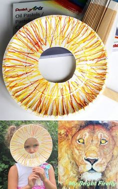 Oil Pastel Lion Mask for Kids. Play with Long Strokes and Shades. The Lion and the Mouse Preschool Activities.