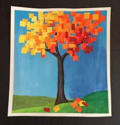 This autumn collage focuses on squares and rectangles to give the tree a pixelated like appearance.                MATERIALS REQUIRE...
