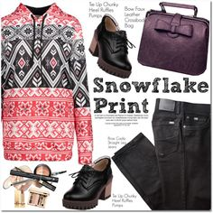 Snowflake Print by oshint on Polyvore featuring BRAX and Yves Saint Laurent