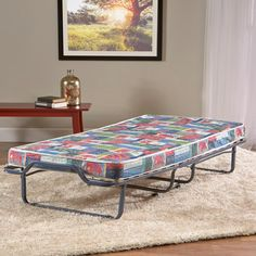 InnerSpace Firenze Roll-Away Folding Guest Bed with Metal Frame and Memory Foam Mattress - Elephant Print Cover