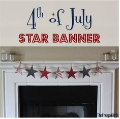 of July Star Banner! ~ add some patriotic flair to your summer decor with these sweet and simple Americana banner! Fourth Of July Decor, 4th Of July Decorations, 4th Of July Party, July 4th, Church Decorations, Patriotic Crafts, Patriotic Party, July Crafts, Holiday Crafts