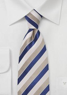 Streifen-Krawatte strukturiert schneeweiß hellbraun königsblau