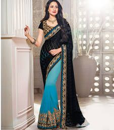 Buy Black and shaded blue embroidered georgette saree with blouse party-wear-saree online