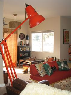 One large Anglepoise Giant lamp and one small dachshund in my living room