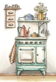 """Vintage Stove"" by Omega DiStefano - 04 Kırkambar Watercolor Illustration, Watercolor Paintings, Watercolour, Marker Kunst, Arte Sketchbook, Aesthetic Art, Doodle Art, Cute Drawings, Cute Art"
