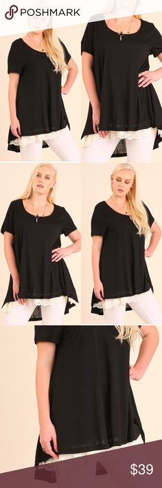 💛PLUS SIZE💛 Crochet Lace Trim Black Blouse •Crochet Lace Trim Bottom •High Lo Style •Soft, Comfortable Wear  •  Model is wearing size XL   XL:  1Xl: 2XL  SKU:  •••••••••••••••••••••••••••••••••••••••••••  🙋Hello! I'm Monika. I'm a Boutique Owner & Boutique Coach. Welcome to my closet!   Let's keep in touch 💕 💟Instagram: @monikarosesf 💟YouTube: MonikaRoseSF 💟Snapchat: itsmonikarose Monika Rose SF Tops Blouses