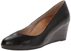 Vionic with Orthaheel Technology Women's Antonia Mid Wedge Pump,Black,US 5 M