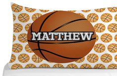 Basketball Pillow Case, Pillow Cover, Kids Bedroom Decor, Sports Theme, Personalized Pillowcase, Custom Pillowcase by 5MonkeysDesigns on Etsy Personalized Pillow Cases, Custom Pillow Cases, Kids Bedroom, Bedroom Decor, Pillow Covers, Basketball, Pillows, Handmade Gifts, Sports