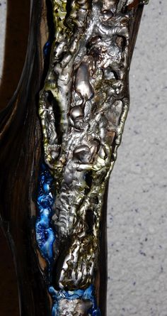 """Unikat - Zinn auf Treibholz - """"the seven faces"""" - 64x15cm #kreuz #art #kunstwerk #skulptur Zinn, Tattoos, Driftwood, Artworks, Tatuajes, Tattoo, Tattos, Tattoo Designs"""
