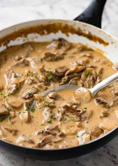 Quick and Easy Beef Stroganoff . Juicy beef smothered in a creamy mushroom and onion gravy. Beef Stroganoff is a crowd favourite that tastes like a slow cooked stew but is on the table in 30 minutes. Creamy Mushrooms, Stuffed Mushrooms, Stuffed Peppers, Recipetin Eats, Mushroom Gravy, Mushroom Sauce, Slow Cooker Beef, Beef Dishes, Winter Food