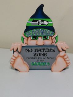 Seattle Seahawks inspired gnome funny  sign by WOODLANDCRITTERS, $50.00