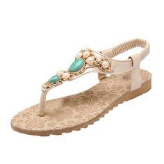 d3d0e4e328dac5 EOZY Women Rhinestones PU Leather Ankle T-strap Flip Flops Flat Sandals --  You