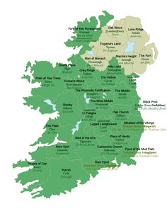 Map of Ireland with the meanings of the county names translated from the original Irish into English