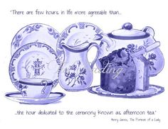 Teacup Card with Quote, Digital Image for Instant Download, Friendship Card, Blue China Cards