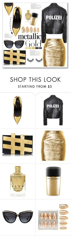 """Metallic Gold"" by queenvirgo ❤ liked on Polyvore featuring Giuseppe Zanotti, Vetements, Charlotte Olympia, Yves Saint Laurent, MAC Cosmetics, Anna-Karin Karlsson and Forever 21"