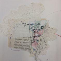 Katie Whittle: textiles, mixed media, vintage paper, florals, stitch, appliqué, buttons, lace. ALevel Textiles