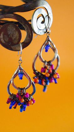 Multi-Color, Brass Earrings, Ethnic, Glass Seed Beads, Ear wire, Hoops, Dangle, Chandelier, African, Indian, Tribal by shopnestandcompany on Etsy