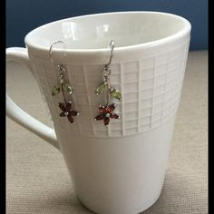 """Flower Dangle Earrings Maroon EUC Stamped 925. Flower is approximately 1"""" in length. ⭐️Make an offer using the offer button or take advantage of my bundle discount! Trades PP Jewelry Earrings"""