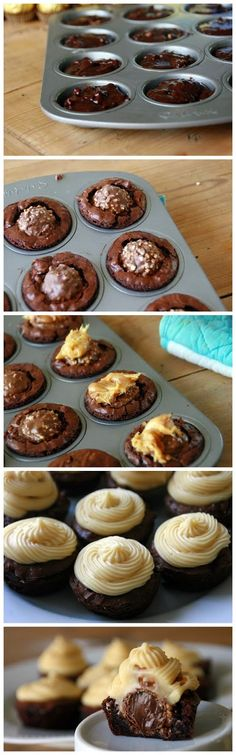 Ferrero Rocher Brownie Bites with Caramel Icing