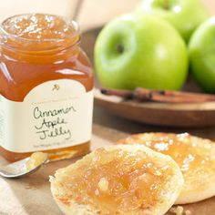 Tart, crisp, Granny Smith apples, a dash of cinnamon, a few drops of brandy and a hint of lemon make our Cinnamon Apple Jelly a top seller. Our Cinnamon Apple Jelly is perfect for all breakfasts breads, makes a killer PB&J and is a sweet addition to pan juices for sautéed chicken or pork.