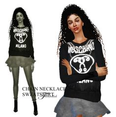 Chain necklace sweatshirt for The Sims 4