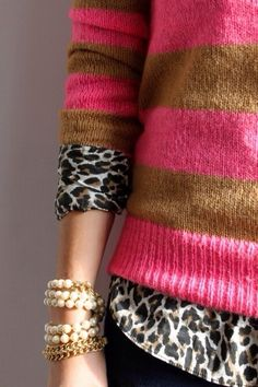 Leopard print blouse, striped sweater, stacked bracelets, outfit