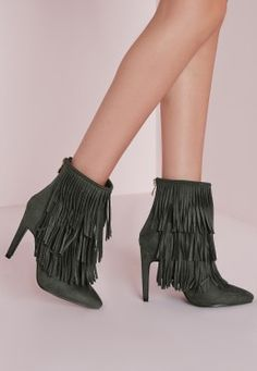 Fringed Trim Ankle Boots Khaki