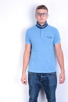Hugo Boss Orange Mens L Polo Shirt Blue Cotton Summer Short Sleeve