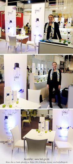 An der Wiederholung ihres Labels hat «feel» nicht gespart. Die Marke steht im absoluten Mittelpunkt. Der Stand drückt Klarheit und Sterilität aus, deckt sich damit also mit der Grundvoraussetzung für einen Gin.  http://www.feel-gin.de/  #Messedesign #Biofach #GutZuStandeGebracht #feelgin