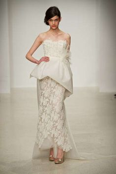 lace Amsale wedding gown