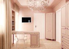 #palepink #desk #whitechair #closet #beigecurtains #whitedoor #ceilinglamp Beige Curtains, White Doors, Concept Architecture, Ceiling Lamp, Pale Pink, Desk, Closet, Desktop, Armoire