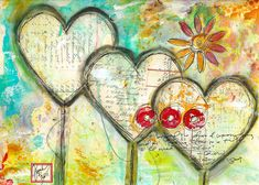 Triple art journal page by @robenmarie #art #journaling #artjournaling