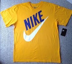 new$25 NIKE SWOOSH BIG SLANT LOGO T-SHIRT Yellow Blue White MENS L/XL *SEE SIZE* #Nike #GraphicTee