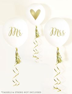 Mr & Mrs Party Balloons in White and Gold   BirdsParty.com