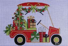 """Christmas Golf Cart painted canvas by Raymond Crawford Designs Size: 5"""" x 7"""" Mesh Count: 18"""
