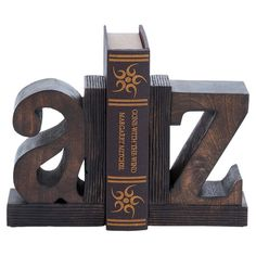 Wood+bookend+with+a+typographic+motif.+  +  Product:+Set+of+2+bookendsConstruction+Material:+WoodColo...