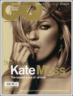 Reigning queen of VOGUE cover (number should be round 90 covers to date) Kate Moss lands the cover or next months British Gentlemen's Quarterly Magazine, photographed by David Bailey. Kate Moss, Gq Magazine Covers, Fashion Magazine Cover, Maxim Magazine, Gq Mens Style, Gq Style, Style Icons, Moss Fashion, Owl Tattoo Design