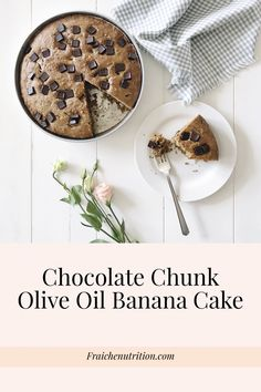 Chocolate Chunk Olive Oil Banana Cake and a Gingham napkin on a white farmhouse table