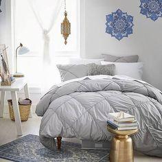 light gray bedding - pb teen [more floofy]
