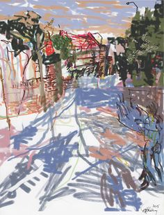 Stella Downer Fine Art - Dealer Consultant & Valuer - Featuring work by Rod Holdaway - Figure on the Street at Sunset