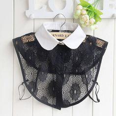 Women Fake Collar Detachable Collars Jeans Diamond Crystal Lace Cotton Detachable For Shirt Sweater P2