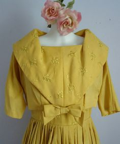 Vintage 1950s Gold Cotton Dress with Jacket by MadMakCloset, $195.00